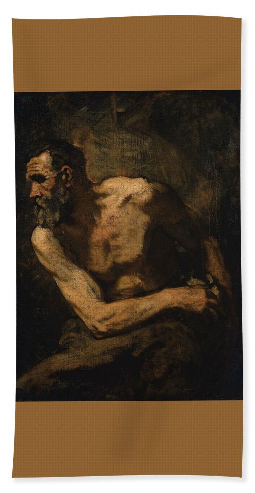 A Miser Study For Timon Of Athens 1876 Painting Painted Originally By Thomas Couture Bath Sheet featuring the painting A Miser Study For Timon Of Athens by Thomas Couture