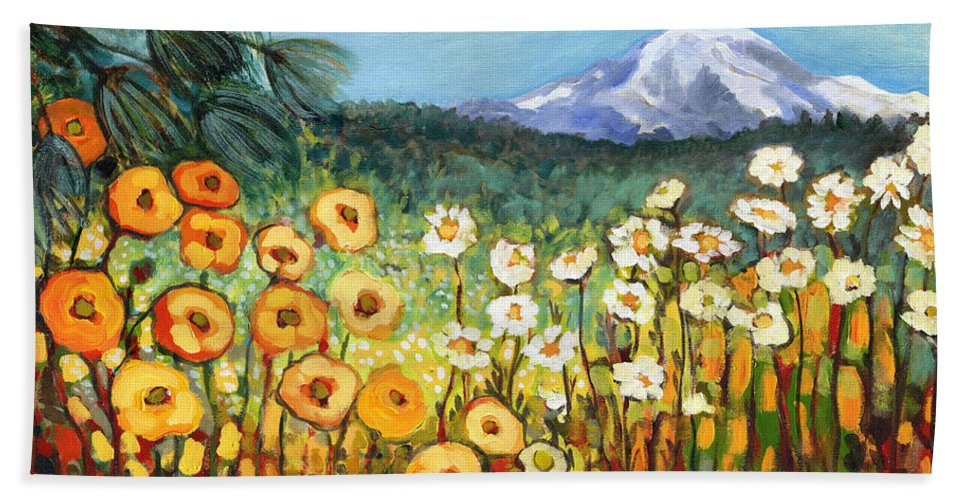 Rainier Bath Towel featuring the painting A Mountain View by Jennifer Lommers
