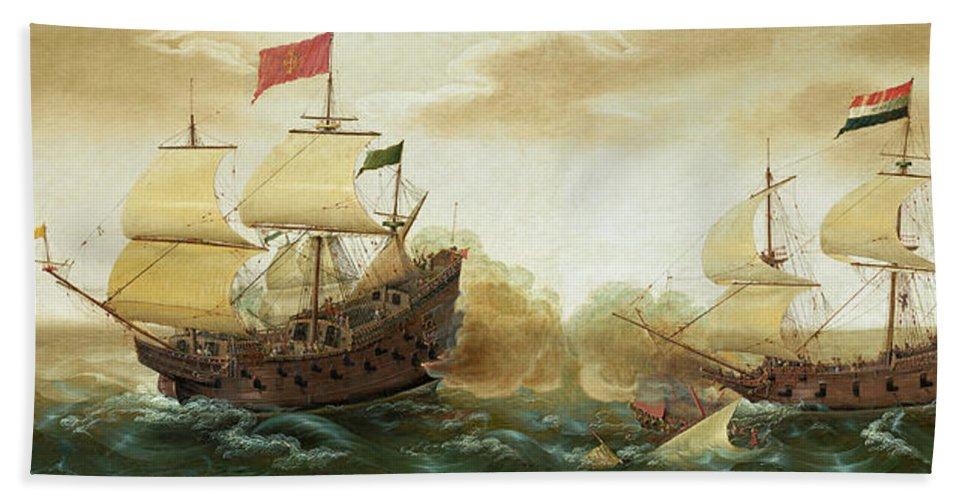 Cornelis Verbeeck Hand Towel featuring the painting A Naval Encounter Between Dutch And Spanish Warships by Cornelis Verbeeck