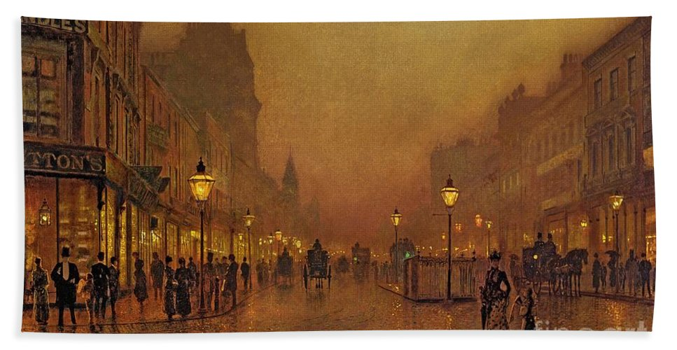 Street Bath Towel featuring the painting A Street At Night by John Atkinson Grimshaw