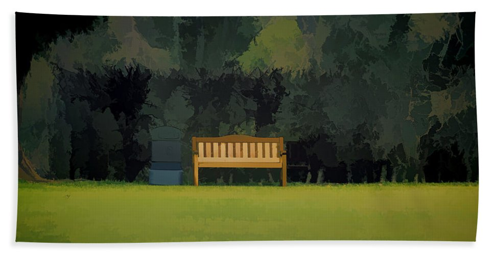 Bench Bath Towel featuring the photograph A Trash Can And Wooden Benches In A Small Grassy Area by Ashish Agarwal
