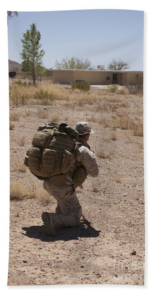Exercise Angel Thunder Bath Sheet featuring the photograph A U.s. Marine Pulls Security While by Terry Moore