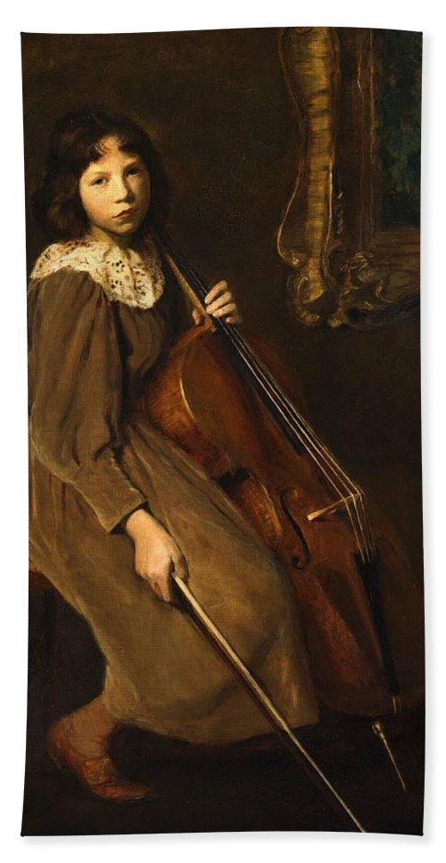 A Young Violoncellist 1892 Painting Painted Originally By Lilla Cabot Perry Bath Sheet featuring the painting A Young Violoncellist by Lilla Cabot Perry