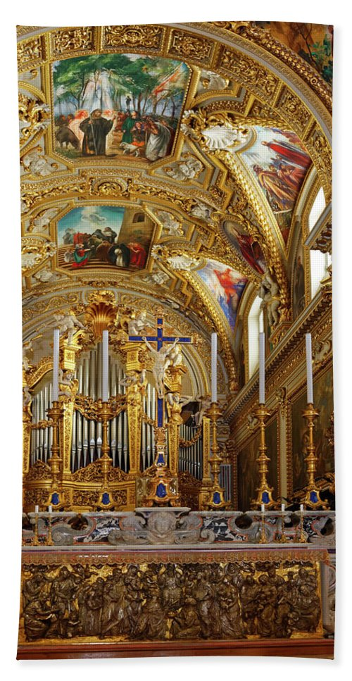 Ornate Altar Hand Towel featuring the photograph Abbey Of Montecassino Altar by Sally Weigand