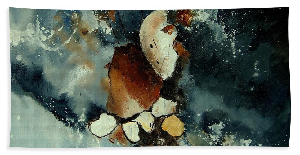 Abstract Bath Sheet featuring the painting Abstract 780707 by Pol Ledent