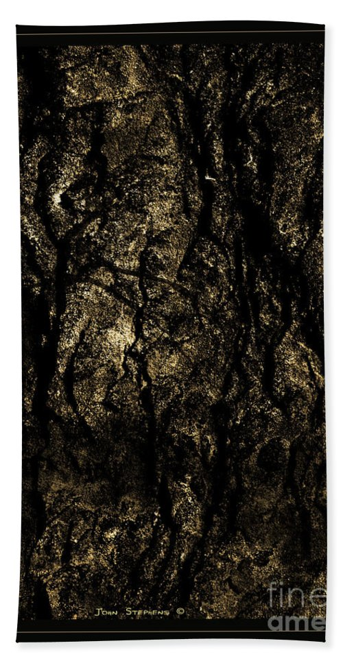 Abstract Bath Sheet featuring the photograph Abstract Gold And Black Texture by John Stephens