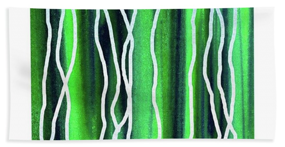 Abstract Line Bath Towel featuring the painting Abstract Lines On Green by Irina Sztukowski