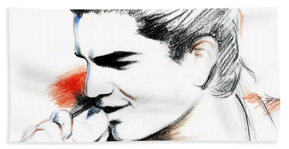Adam Lambert Bath Towel featuring the drawing Adam Lambert by Lin Petershagen