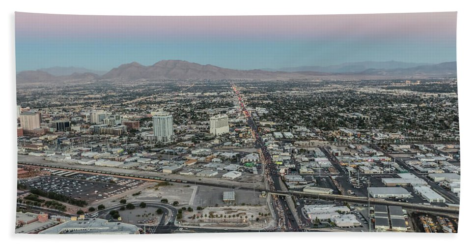Las Vegas Hand Towel featuring the photograph Aerial View Of Las Vegas City by Sv