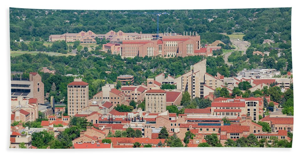 Colorado Hand Towel featuring the photograph Aerial View Of The Beautiful University Of Colorado Boulder by Chon Kit Leong