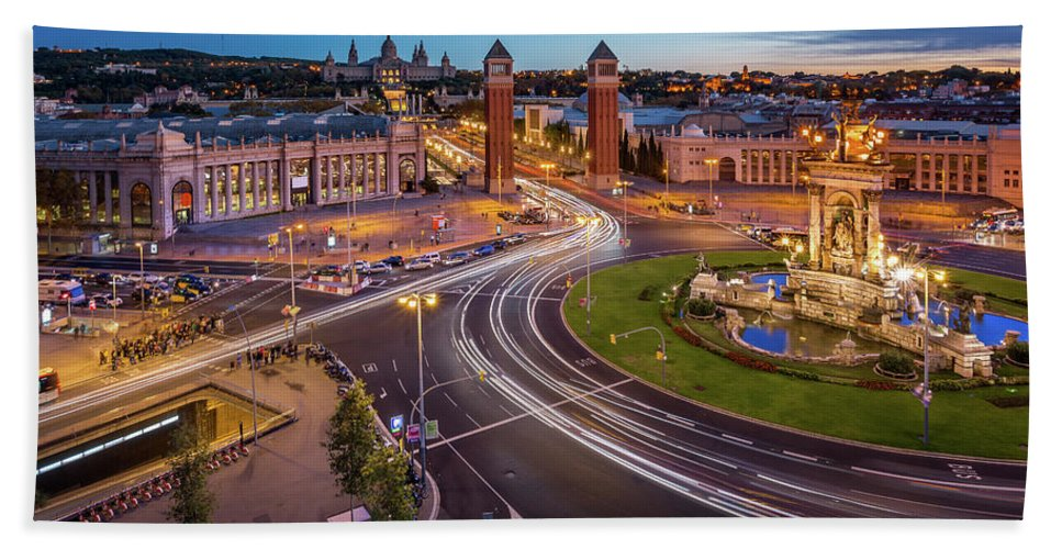 Aerial Hand Towel featuring the photograph Aerial View On Placa Espanya And Montjuic Hill With National Art by Andrey Omelyanchuk