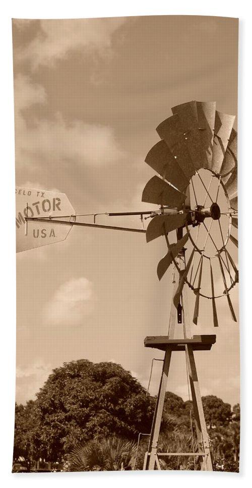 Sepia Bath Sheet featuring the photograph Aermotor Windmill by Rob Hans