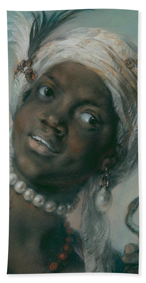 Rosalba Carriera Hand Towel featuring the painting Africa by Rosalba Carriera