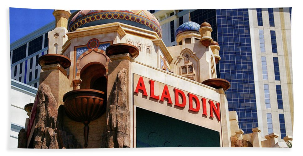 Aladdin Bath Sheet featuring the photograph Aladdin Hotel Casino by Mariola Bitner