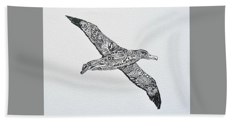 Bird Bath Sheet featuring the painting Albatross by Yvonne Ankerman