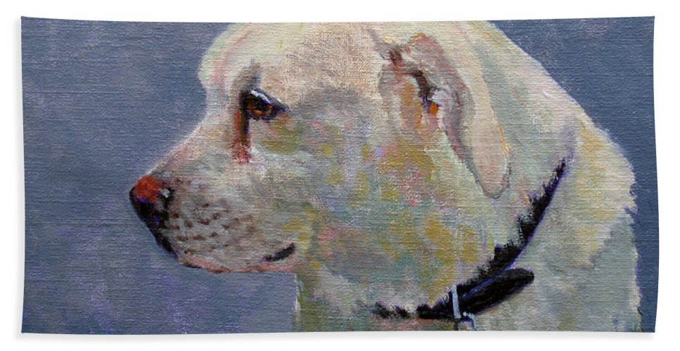 Dog Hand Towel featuring the painting Alex by Keith Burgess