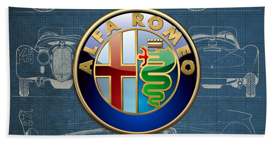 �wheels Of Fortune� By Serge Averbukh Bath Towel featuring the photograph Alfa Romeo 3 D Badge over 1938 Alfa Romeo 8 C 2900 B Vintage Blueprint by Serge Averbukh