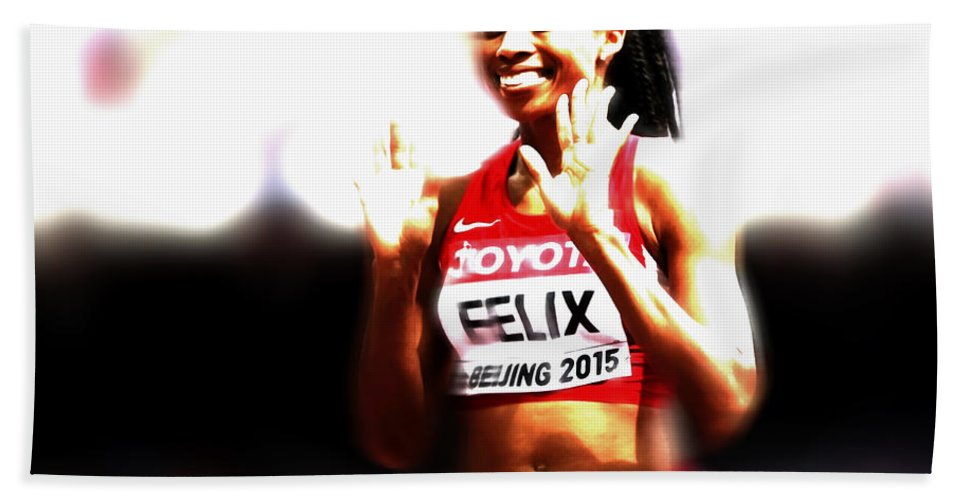 Allyson Felix Hand Towel featuring the mixed media Allyson Felix by Brian Reaves