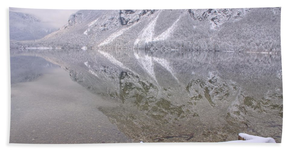 Winter Bath Sheet featuring the photograph Alpine Winter Reflections by Ian Middleton