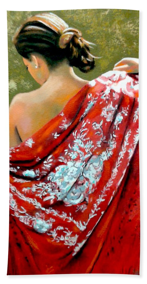 Red Bath Sheet featuring the painting aly by Jose Manuel Abraham