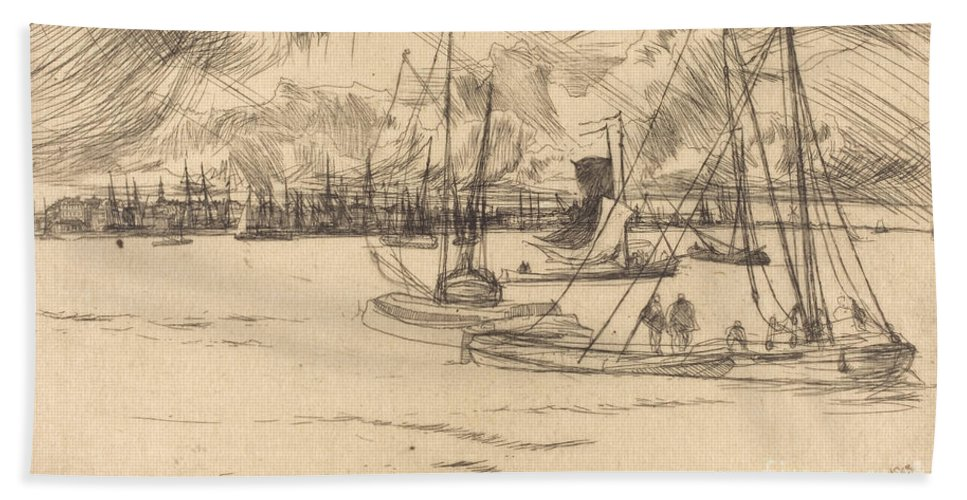 Hand Towel featuring the drawing Amsterdam From The Tolhuis by James Mcneill Whistler