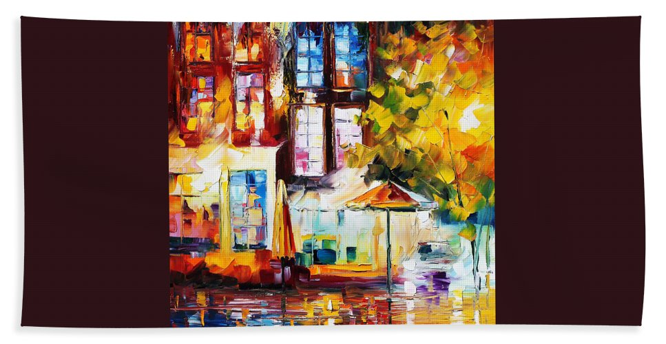 Afremov Hand Towel featuring the painting Amsterdam by Leonid Afremov