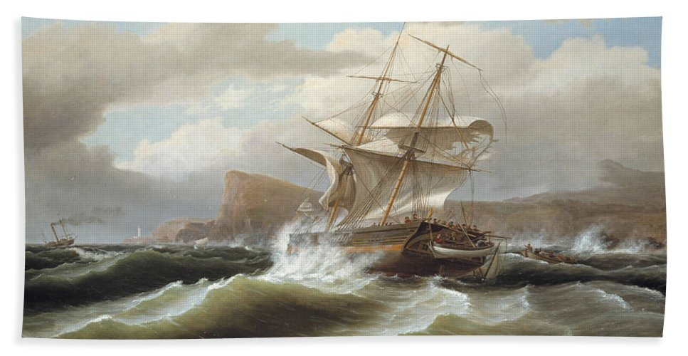 Thomas Birch Bath Sheet featuring the painting An American Ship In Distress by Thomas Birch