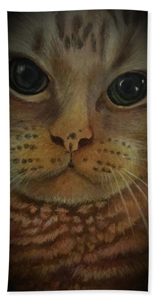 Cat Bath Towel featuring the painting An Angel by Glory Fraulein Wolfe