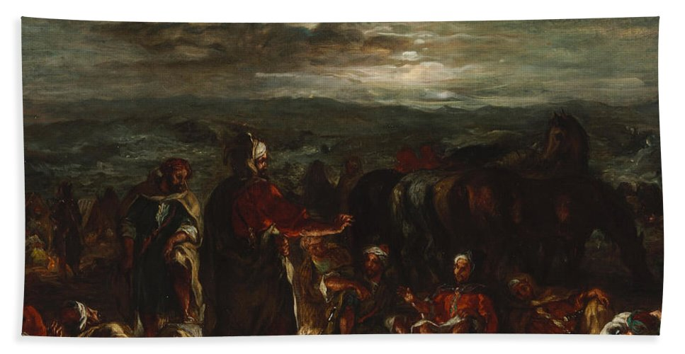 Animal Hand Towel featuring the painting An Arab Camp At Night by Eugene Delacroix
