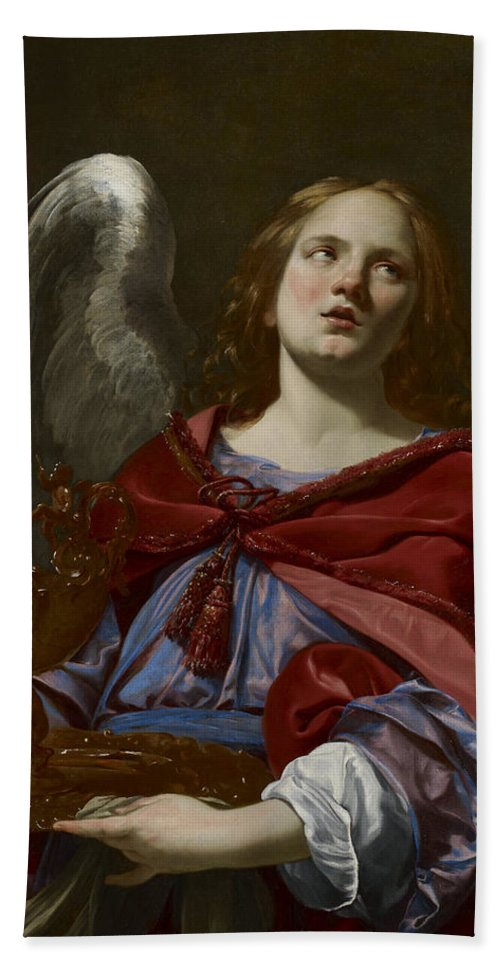 Simon Hand Towel featuring the painting Angels With Attributes Of The Passion by Simon Vouet