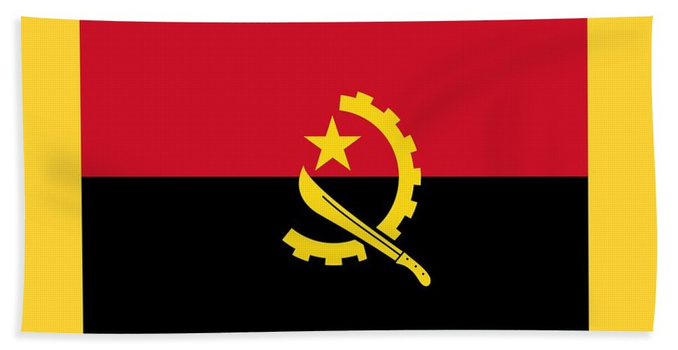 Flag Hand Towel featuring the digital art Angola Flag by Frederick Holiday
