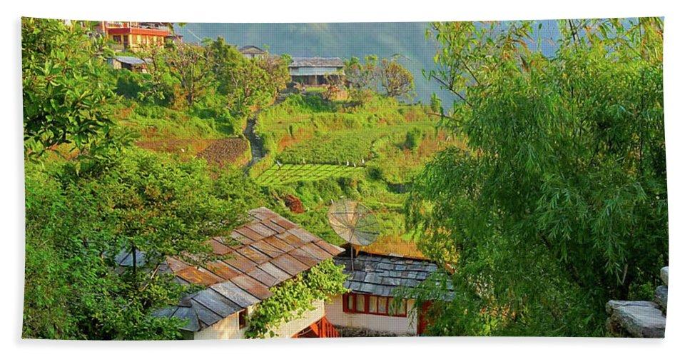 Annapurnas Hand Towel featuring the photograph Annapurna Village by Sonal Dave