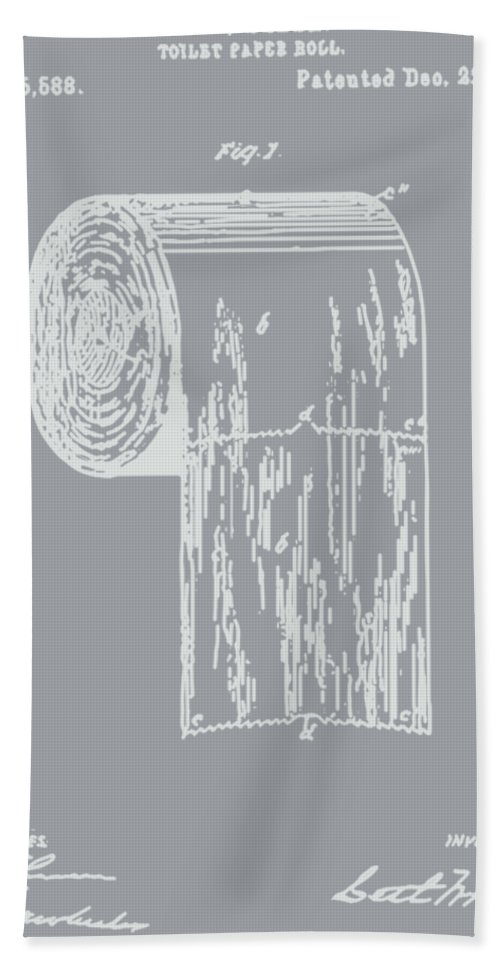 Antique toilet paper roll blueprint patent illustration hand towel bathroom art hand towel featuring the painting antique toilet paper roll blueprint patent illustration by tina malvernweather Images