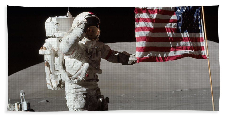 1972 Bath Towel featuring the photograph Apollo 17 Astronaut Salutes The United by Stocktrek Images