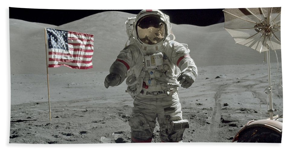 1972 Bath Sheet featuring the photograph Apollo 17 Astronaut Stands by Stocktrek Images
