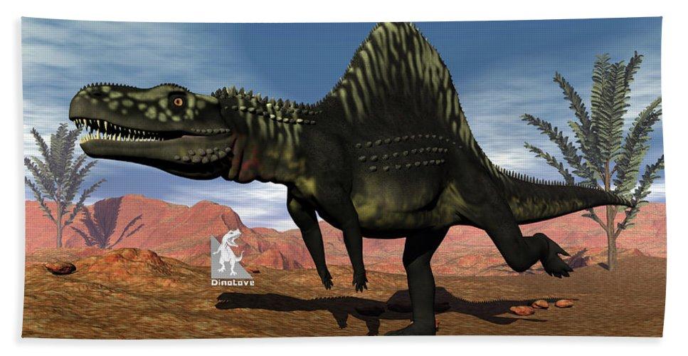 Dinosaur Hand Towel featuring the digital art Arizonasaurus Dinosaur - 3d Render by Elenarts - Elena Duvernay Digital Art
