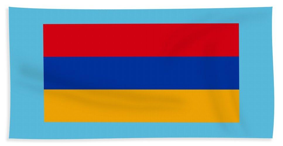 Flag Hand Towel featuring the digital art Armenia Flag by Frederick Holiday