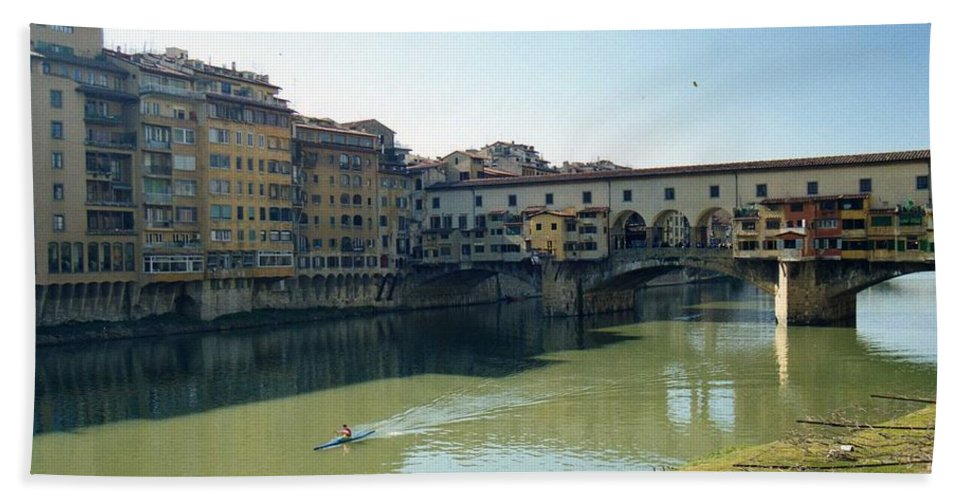 Arno Hand Towel featuring the photograph Arno River In Florence Italy by Marna Edwards Flavell
