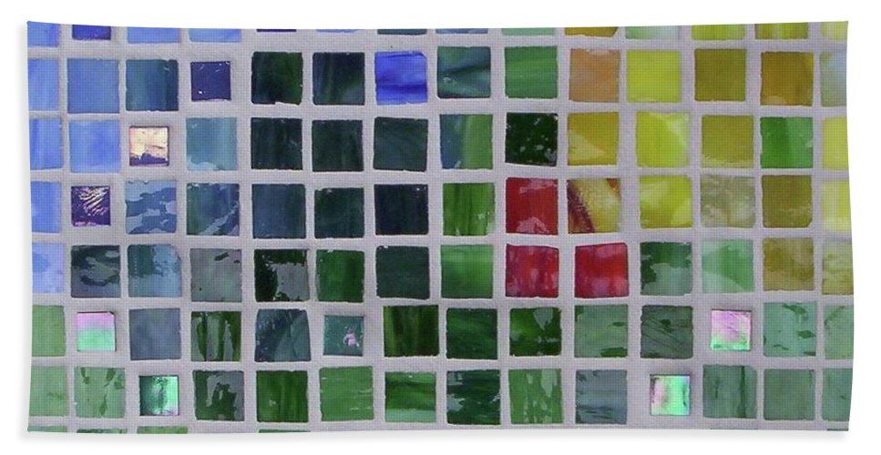 Mosaics Hand Towel featuring the glass art Arrival by Suzanne Udell Levinger