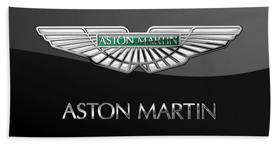 'wheels Of Fortune� Collection By Serge Averbukh Bath Towel featuring the photograph Aston Martin 3 D Badge on Black by Serge Averbukh