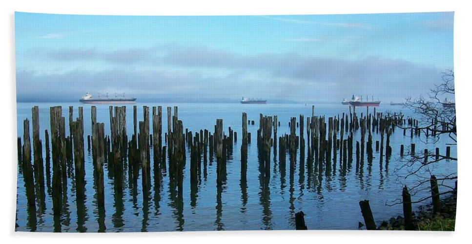 Ships Hand Towel featuring the photograph Astoria Ships II by Quin Sweetman