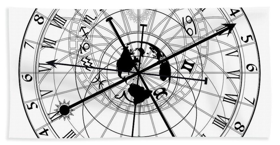 Esoteric Bath Sheet featuring the digital art Astronomical Clock by Michal Boubin