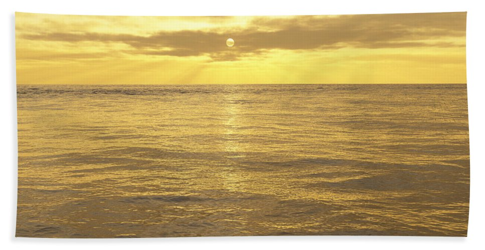 Lake Hand Towel featuring the digital art Ocean View by Mark Greenberg