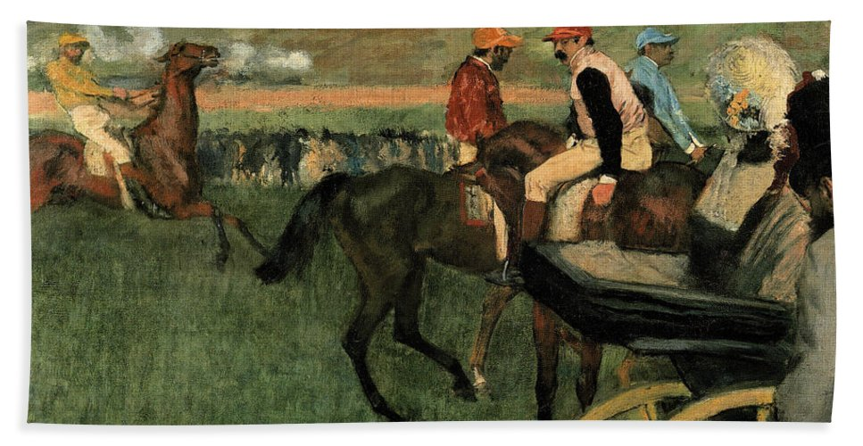 Edgar Degas Hand Towel featuring the painting At The Races by Edgar Degas