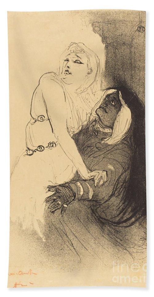 """Hand Towel featuring the drawing At The Renaissance: Sarah Bernhardt In """"phedre"""" (a La Renaissance: Sarah Bernhardt Dans """"ph?dre"""") by Henri De Toulouse-lautrec"""