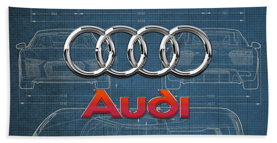 �wheels Of Fortune� Collection By Serge Averbukh Bath Towel featuring the photograph Audi 3 D Badge Over 2016 Audi R 8 Blueprint by Serge Averbukh
