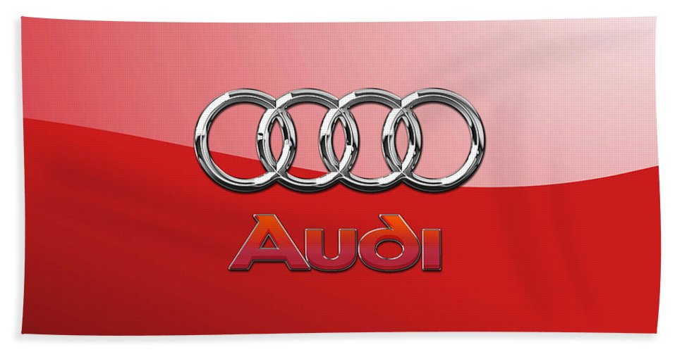 Wheels Of Fortune By Serge Averbukh Bath Towel featuring the photograph Audi - 3D Badge on Red by Serge Averbukh