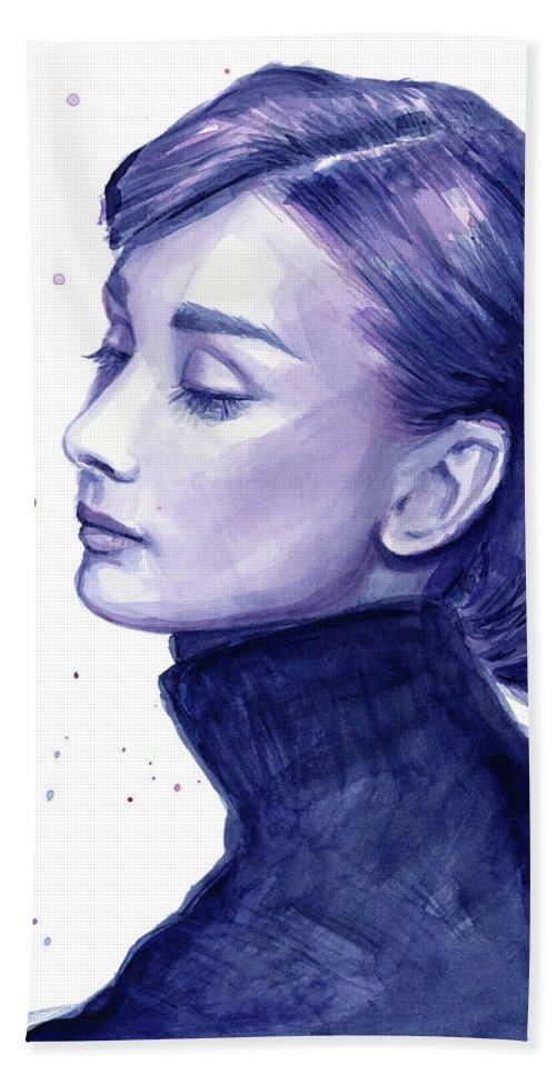 Watercolor Bath Towel featuring the painting Audrey Hepburn Portrait by Olga Shvartsur