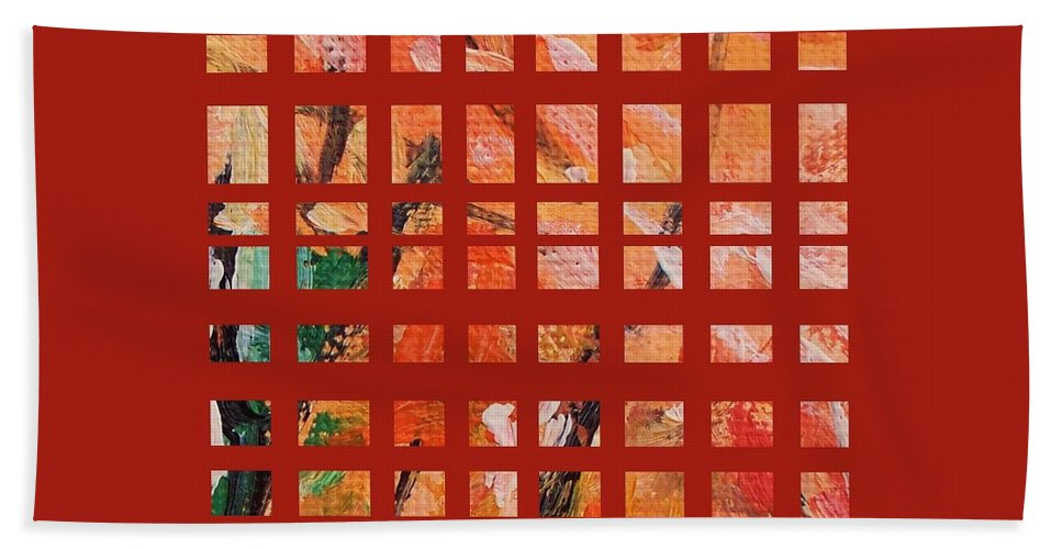 Autumn Hand Towel featuring the painting Autumn Abstract by Eric Schiabor