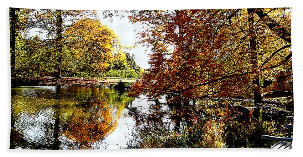 Autumn Hand Towel featuring the photograph Autumn Reflections by Susan Savad